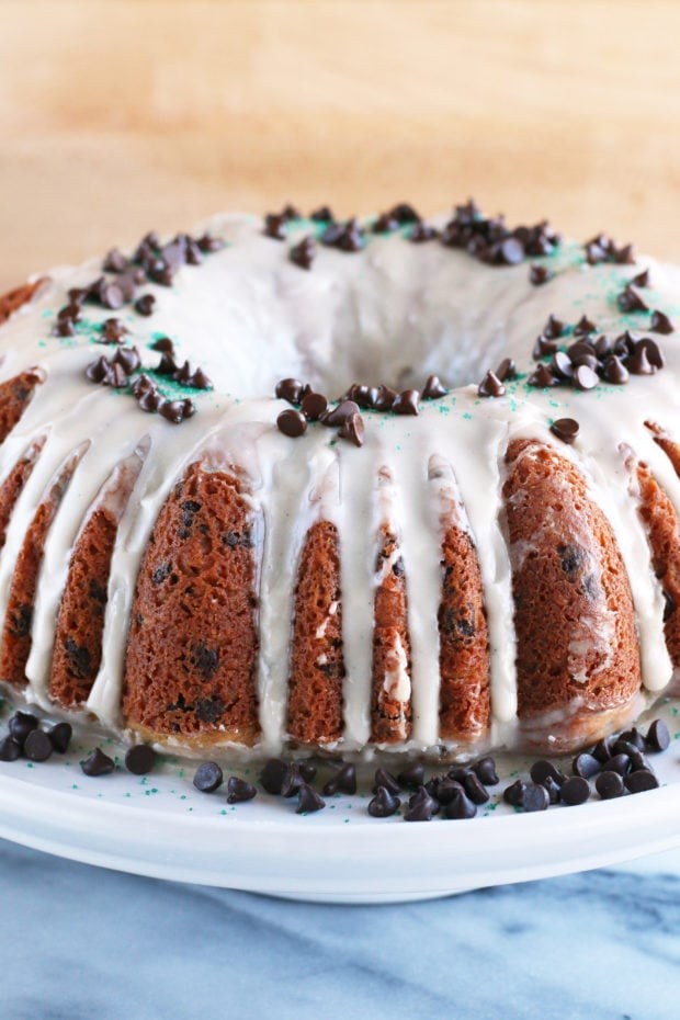 Bailey's Chocolate Chip Bundt Cake ready to serve