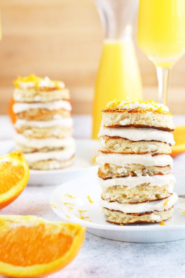 Mimosa Pancake Stacks with mimosas!