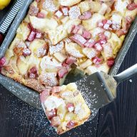 Rhubarb Pear French Toast Overnight Casserole