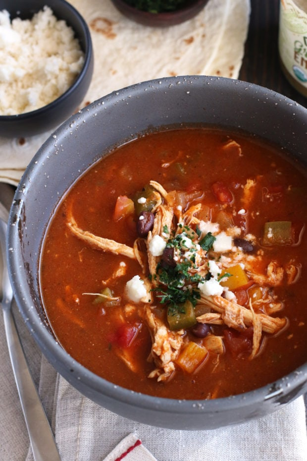 Red and Green Enchilada Soup for dinner