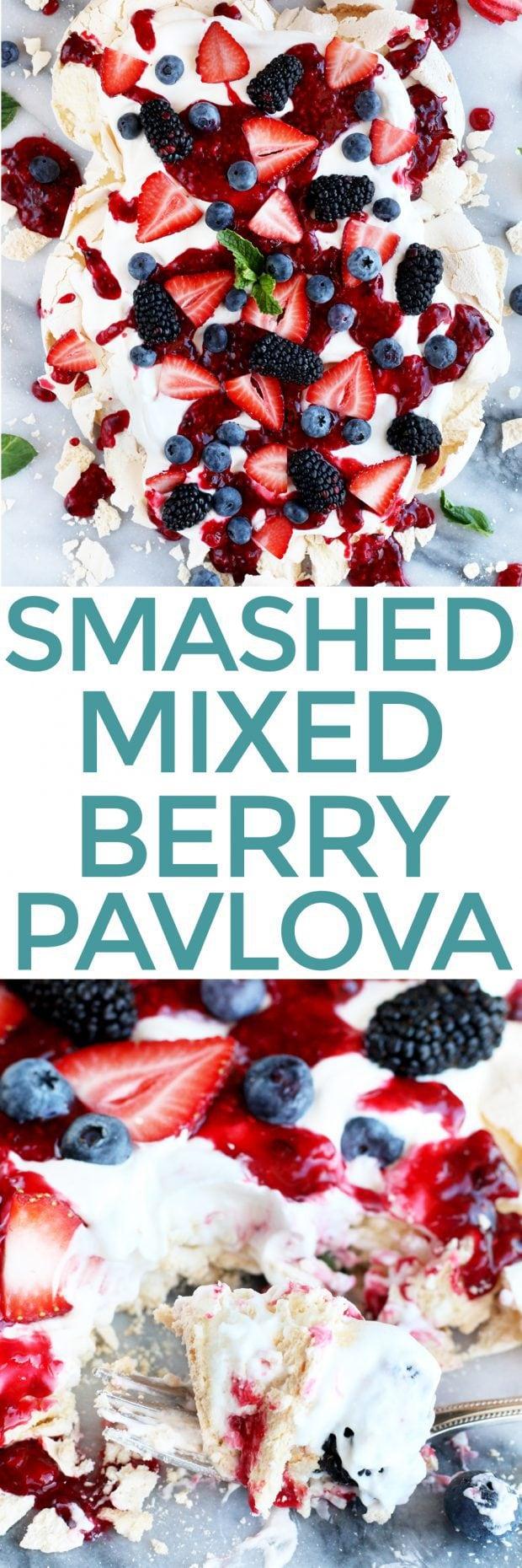 Smashed Mixed Berry Pavlova