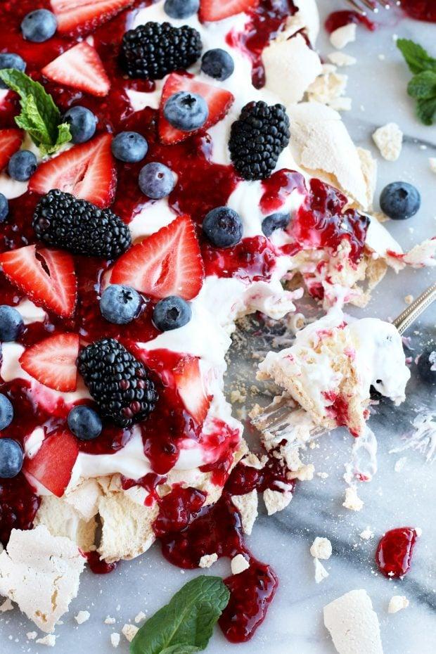 Smashed Mixed Berry Pavlova Cake N Knife
