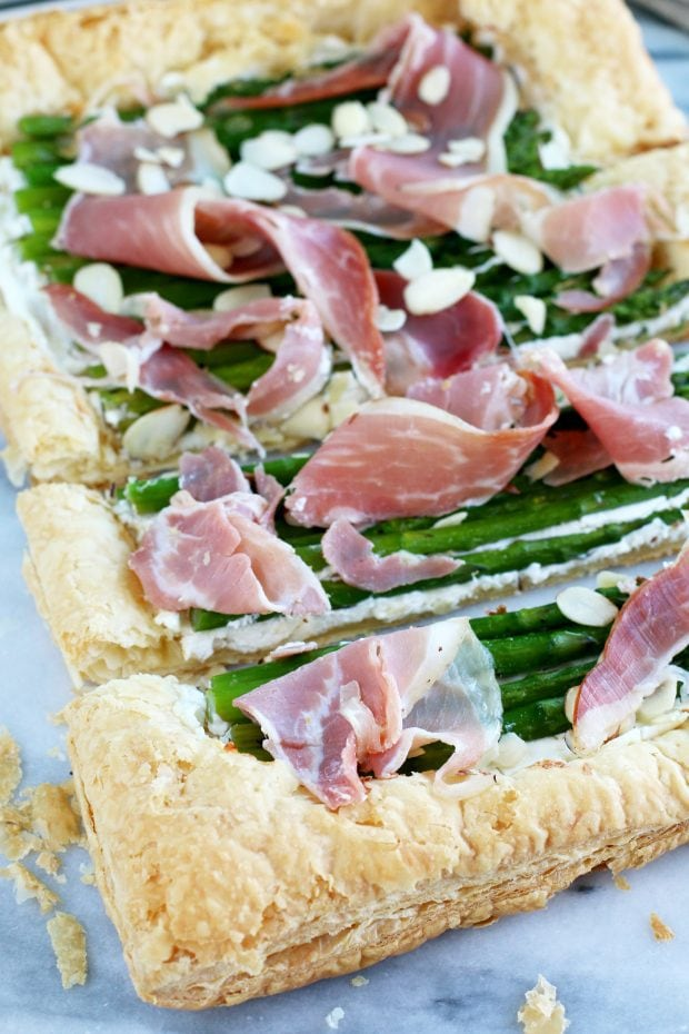 Asparagus Prosciutto Goat Cheese Puff Pastry Tart