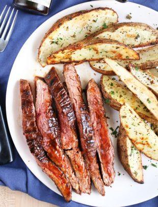 Balsamic Glazed Grilled Flank Steak with Herb Steak Fries