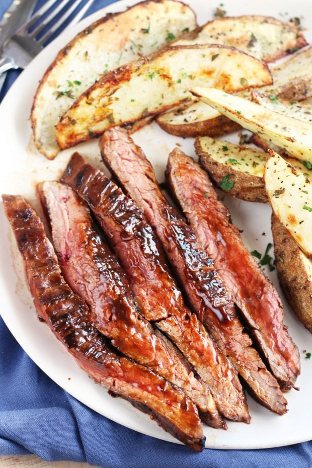 Balsamic Glazed Grilled Flank Steak with Herb Steak Fries