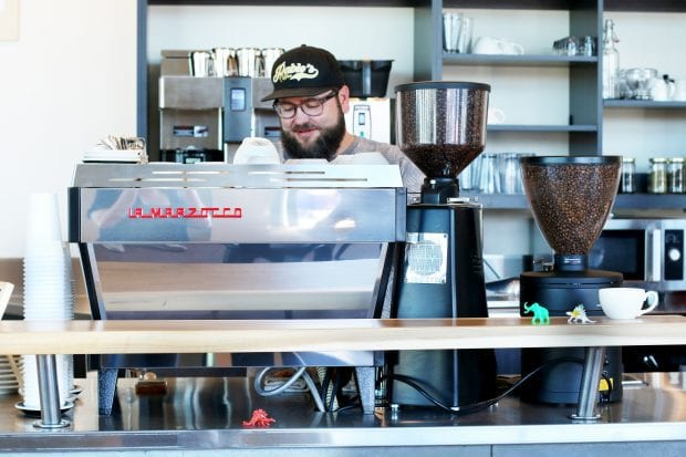 Pablo's Coffee on East Colfax owner making coffee