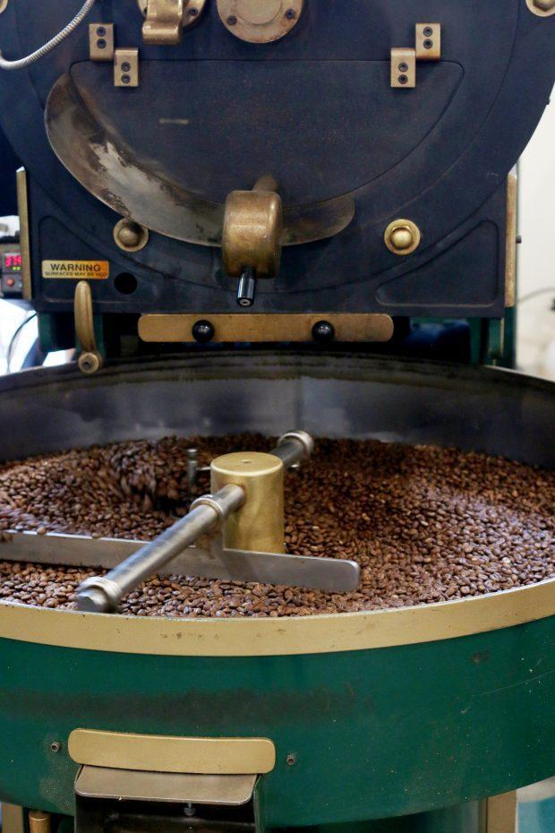 Pablo's Coffee on East Colfax roasting coffee beans