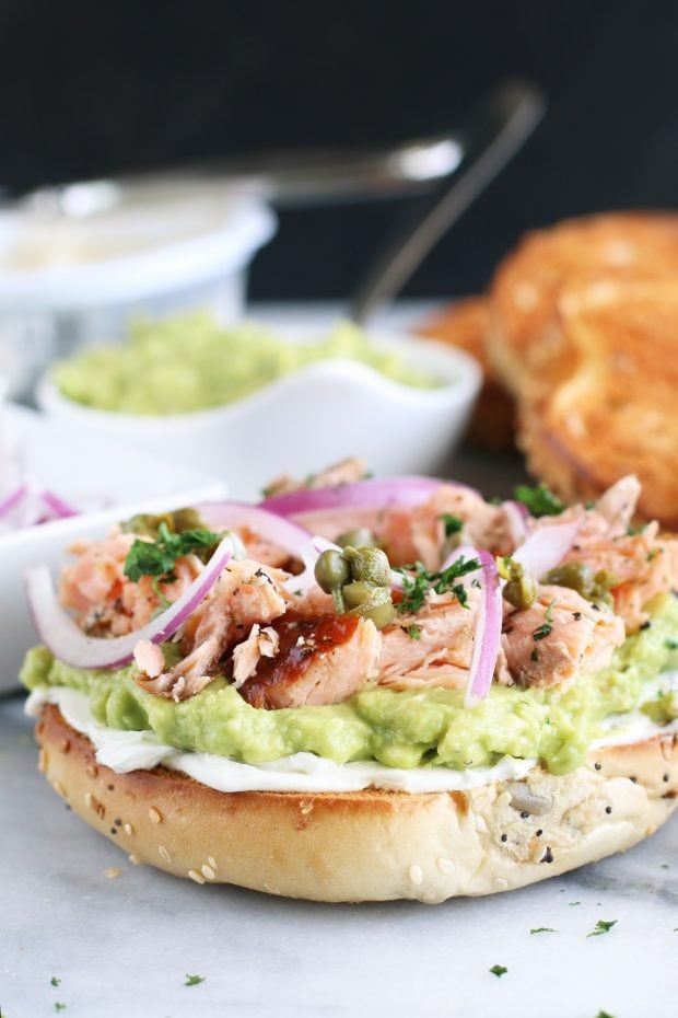 Smoked Salmon Avocado Cream Cheese Bagels