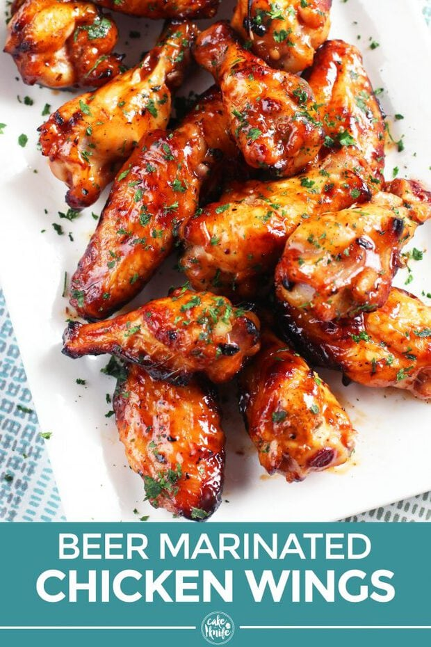 Beer marinated wings Pinterest image