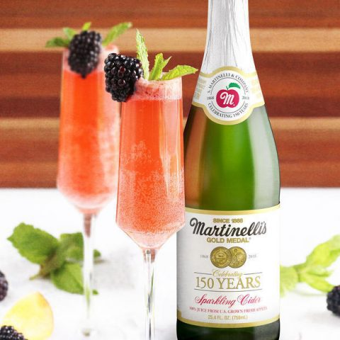 Sparkling Cider Blackberry Peach Bellini Mocktail