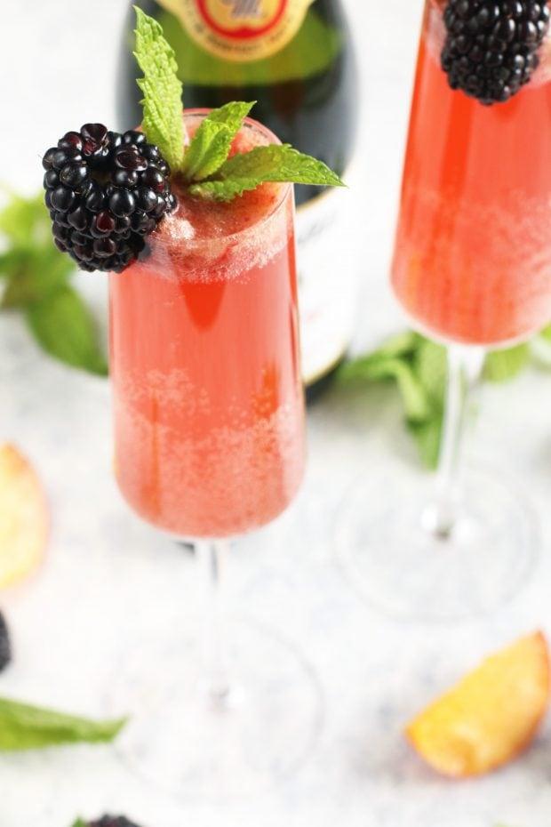 Sparkling Cider Blackberry Peach Bellini Mocktail