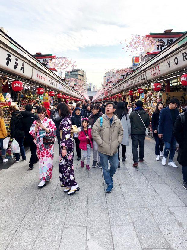 Walking to Senso-Ji Shrine in Tokyo