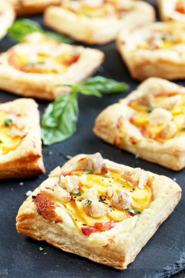 Peach Basil Goat Cheese Tarts