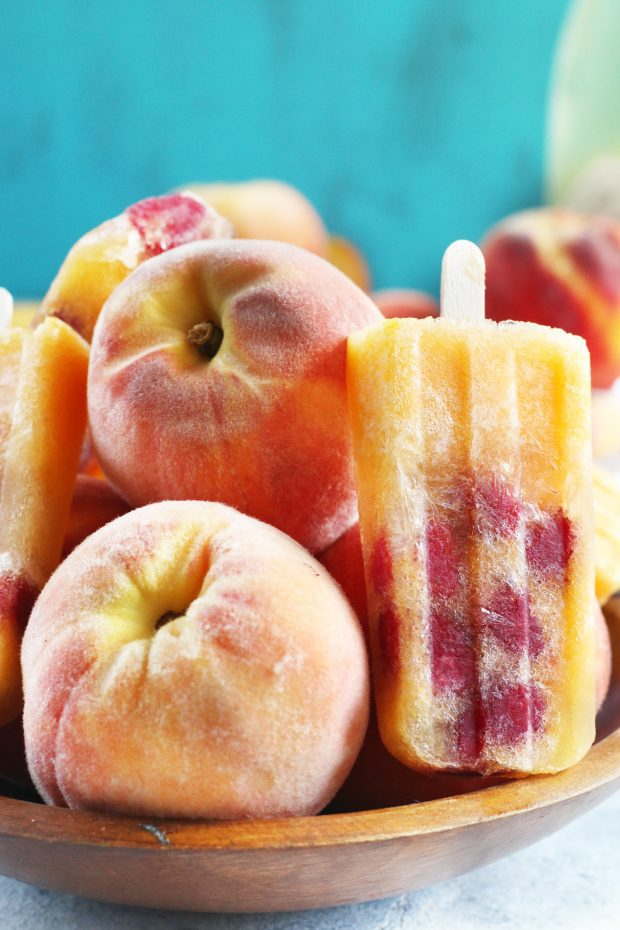 Raspberry Peach Prosecco Popsicles