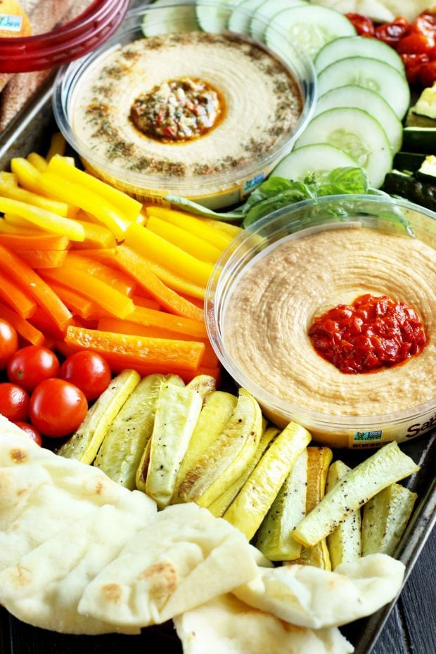 Summer Garden Vegetable Hummus Board