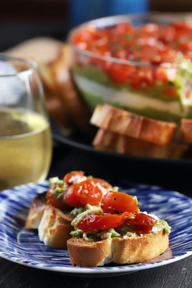 Avocado Ricotta Tomato Pesto Layer Dip
