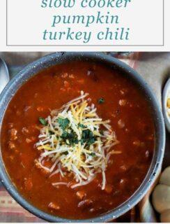 Slow Cooker Pumpkin Turkey Chili Pinterest Image
