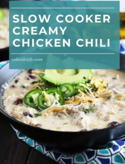 Slow Cooker Creamy White Chicken Chili Pinterest Graphic