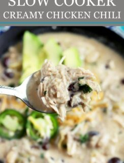 Slow Cooker Creamy White Chicken Chili Pinterest Image
