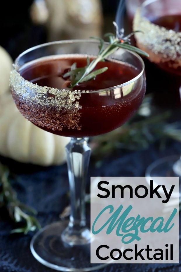 Spooky Pomegranate Mezcal Cocktail Pinterest Image
