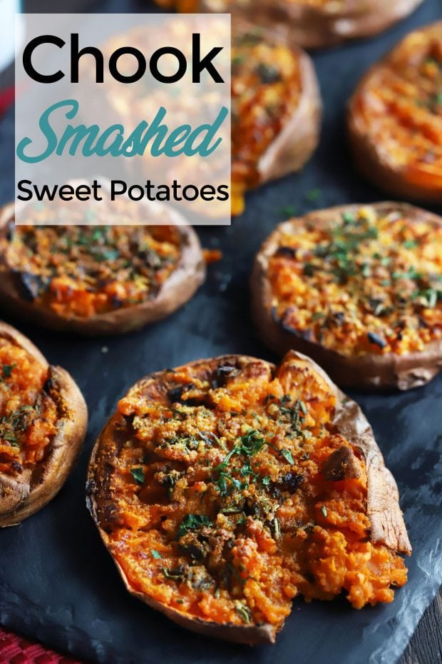 Chook Smashed Sweet Potatoes with Fresh Herbs and Garlic