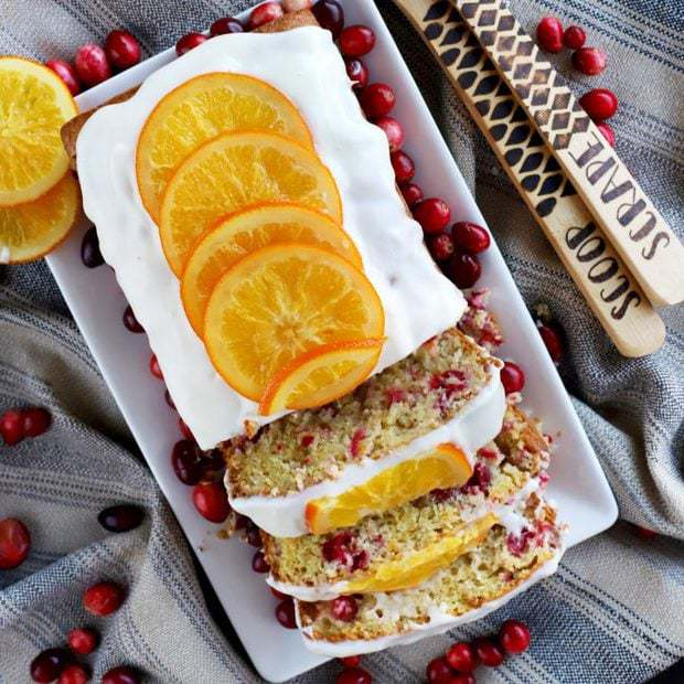 Ginger Cranberry Orange Loaf Cake