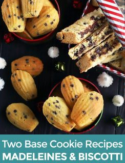 Pinterest image for madeleine and biscotti recipes