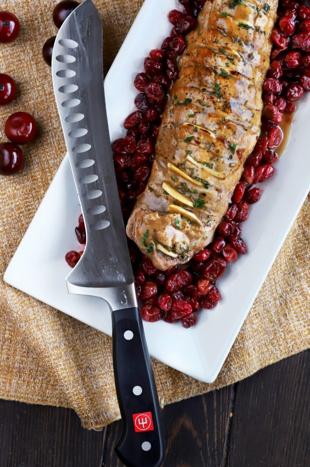 Roasted Garlic Pork Tenderloin with Cranberries