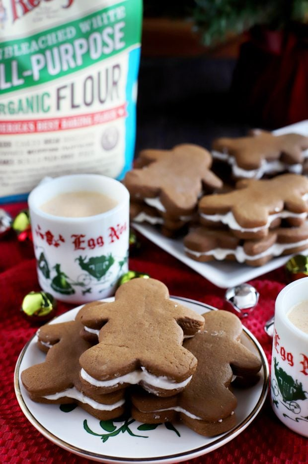 Soft Chewy Gingerbread Cookies with Eggnog Filling