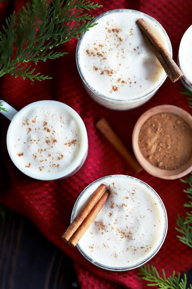 The Best Homemade Eggnog in many glasses