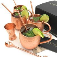 Cretoni Copperlin Pure Copper Hammered Moscow Mule Mugs Set of 4 with Bar Spoon and Jigger