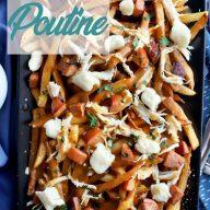 Cajun Poutine recipe overhead Pinterest Image