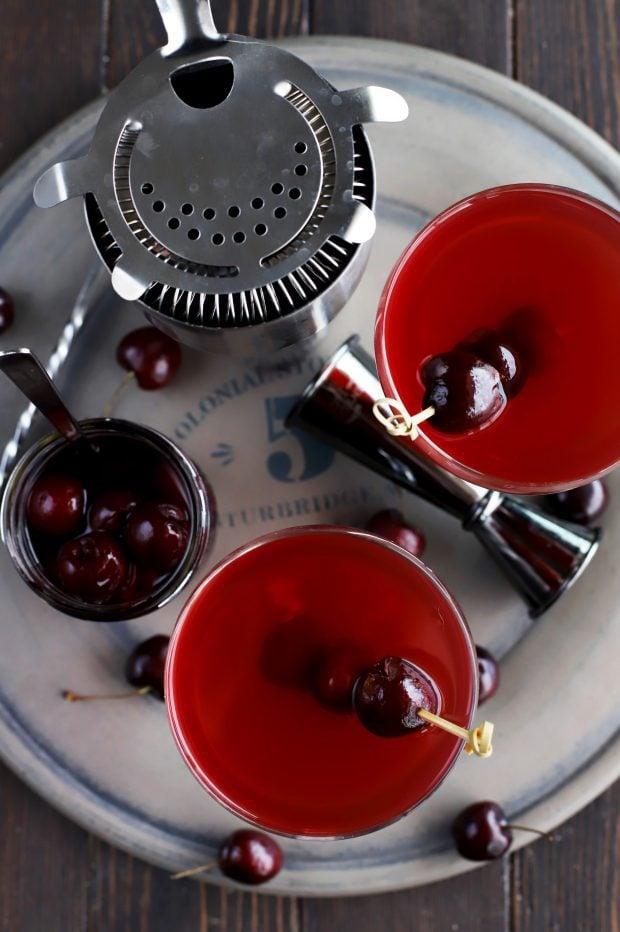 Homemade Brandy Cherries with Rum