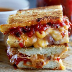 Inverted French Baguette Grilled Cheese with Chunky Tomato Jalapeño Jam