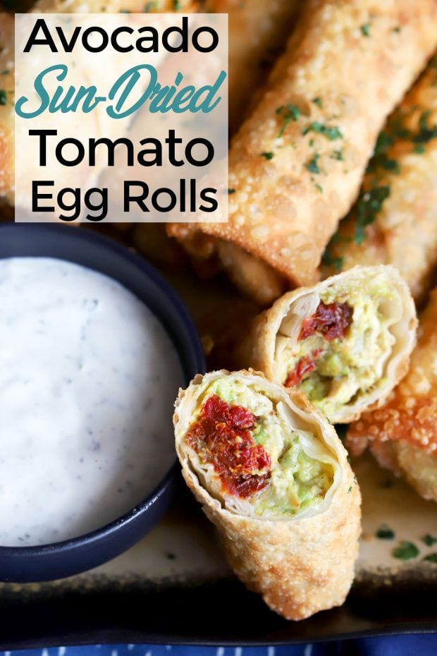 Avocado Sun-Dried Tomato Chicken Egg Rolls