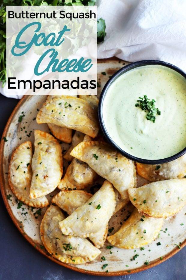 Butternut Squash Goat Cheese Empanadas with Avocado Dipping Sauce