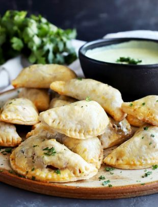 Butternut Squash Goat Cheese Empanadas with Avocado Dipping Sauce