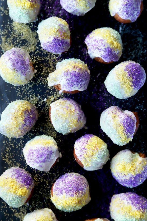 King Cake Donut Holes for Mardi Gras