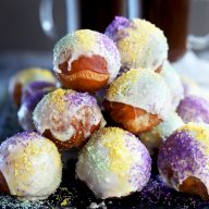 King Cake Donut Holes for Mardi Gras