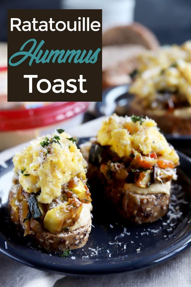 Ratatouille Hummus Toast with Soft Scrambled Eggs