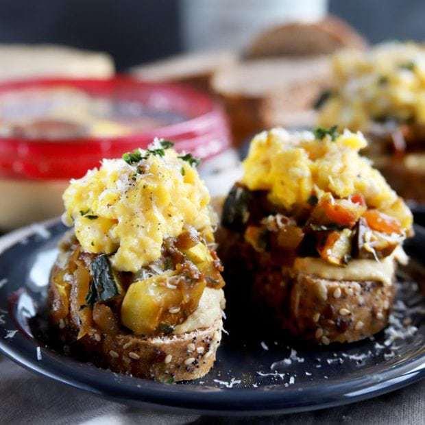Ratatouille Hummus Toast with Soft Scrambled Eggs
