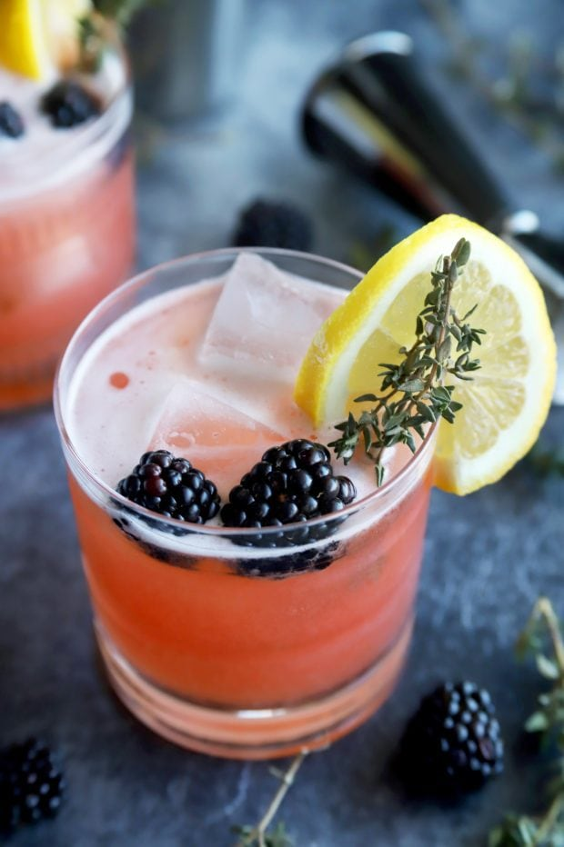 Blackberry Thyme Irish Whiskey Sour