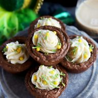 Espresso Brownie Cups With Bailey's Buttercream Frosting