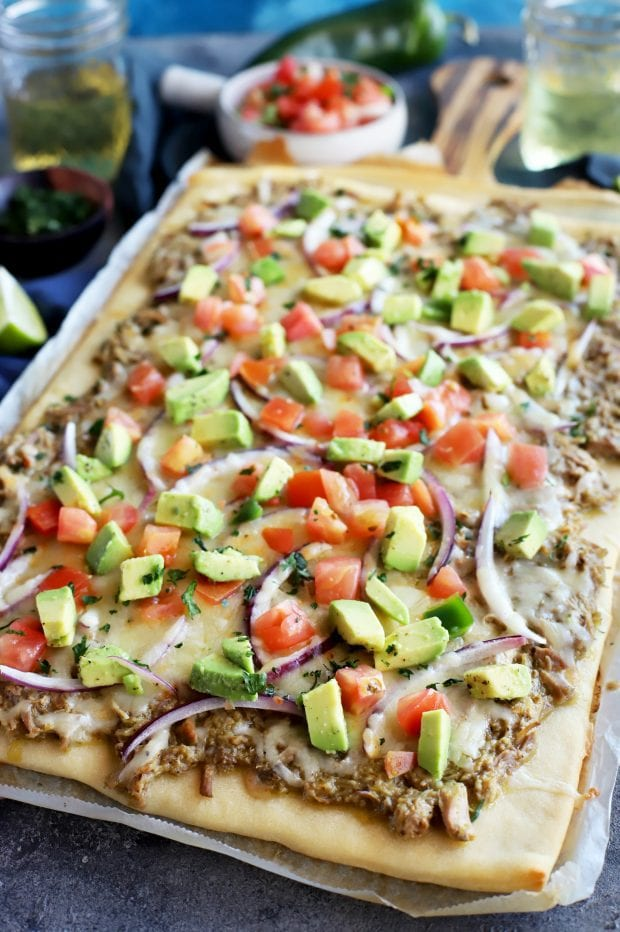 Avocado Pulled Pork Flatbread with Grilled Tomatillo Salsa