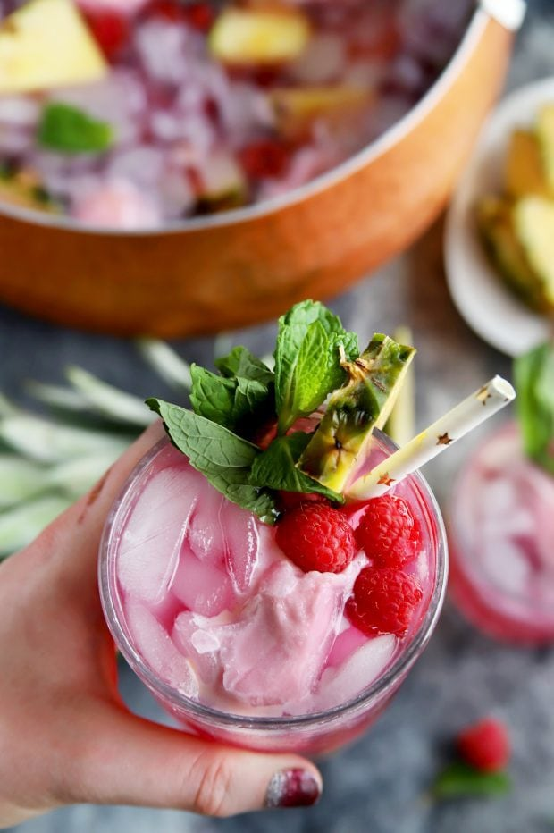 Black Raspberry, Mint, and Pineapple Sherbet Punch