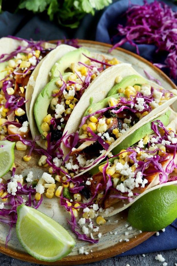 Charred Corn Chicken Avocado Tacos