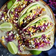 Charred Corn Chicken Avocado Tacos