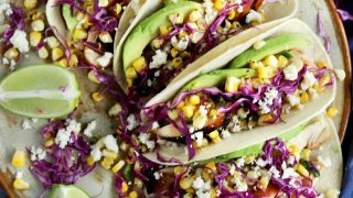 Charred Cilantro Lime Corn Chicken Avocado Tacos