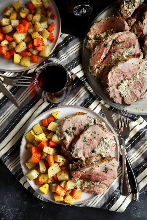 Easter stuffed sliced leg of lamb