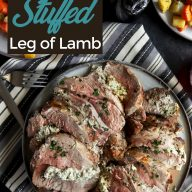 Herb goat cheese stuffed leg of lamb Pinterest image